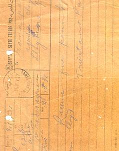 Egypt-State-Telegramme-Treistano-Rana-to-Ranaji